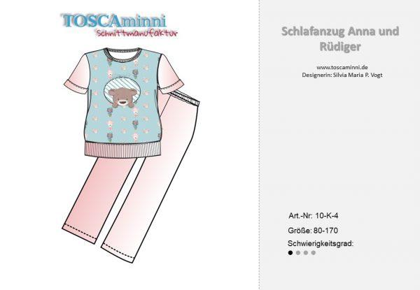 Schnittmuster Kinderschlafanzug