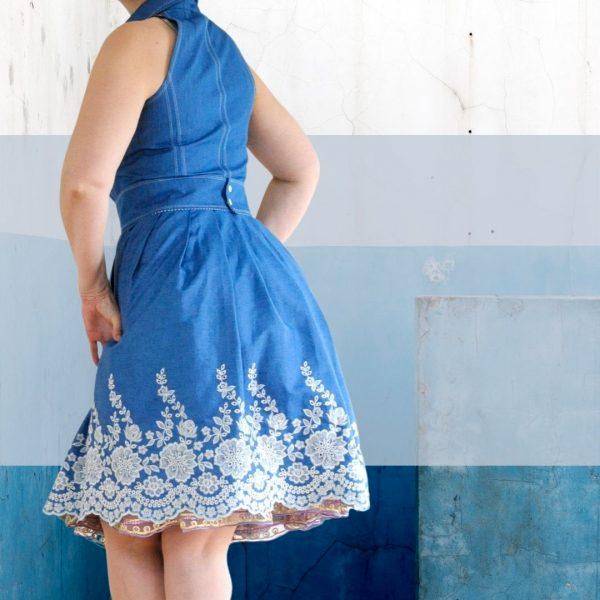 Schnittmuster Sommerkleid mit Stehkragen