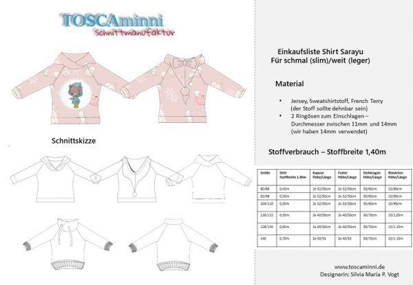 1-K-10 Shirt Sarayu Materialangaben Gr. 80-140