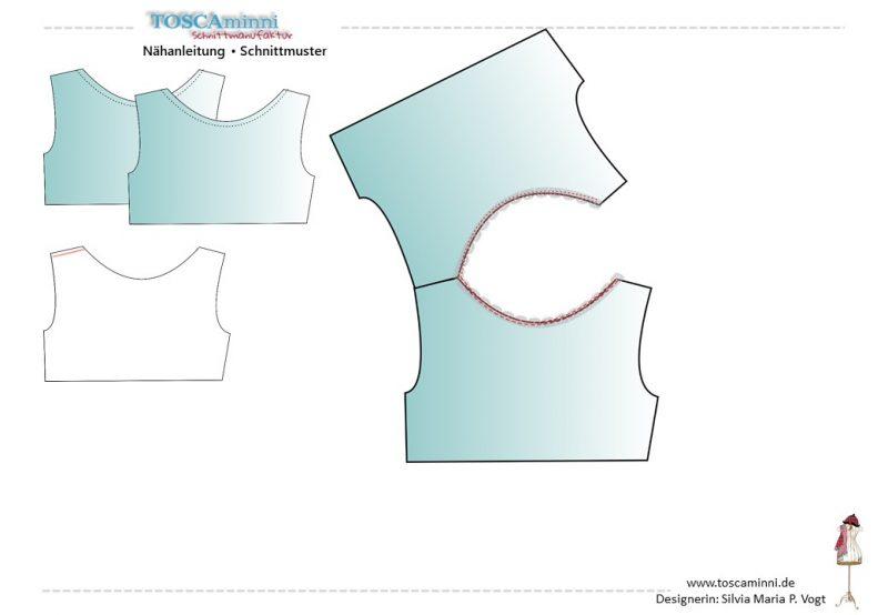 Eine einfache, aber sehr hübsche Möglichkeit den Ausschnitt zu versäubern, sind elastische Spitzen. Die gibt es in verschiedenen Breiten und allen möglichen Farben. Die Spitze kann auf 2 Arten verarbeitet werden. Einmal einfach auf der rechten Seite mit einem elastischen Stich auf den Ausschnitt nähen, oder diesen verstürzen.