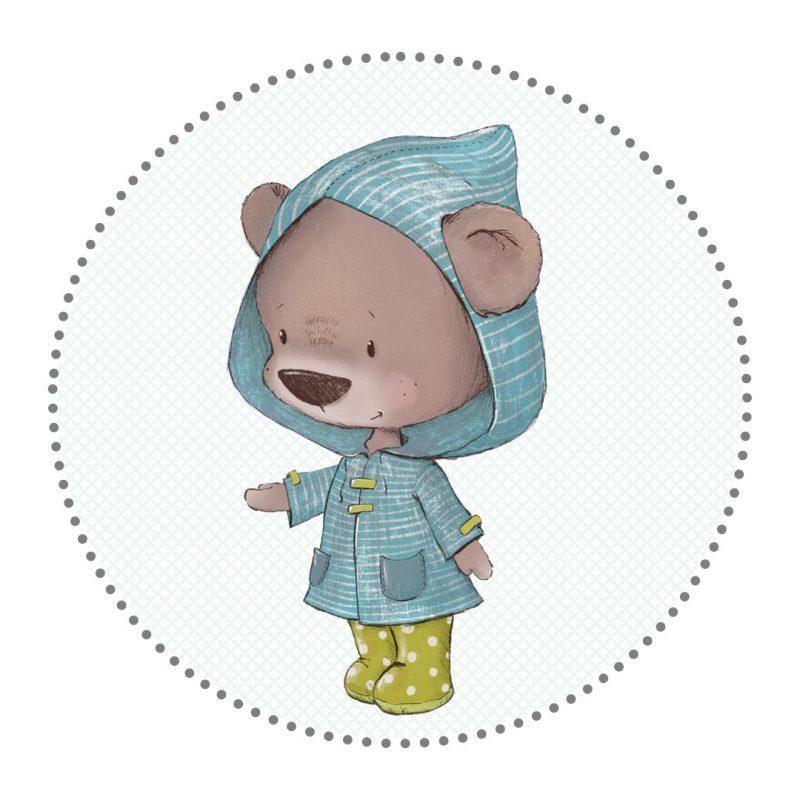 Bügelbild Bär mit Regenmantel