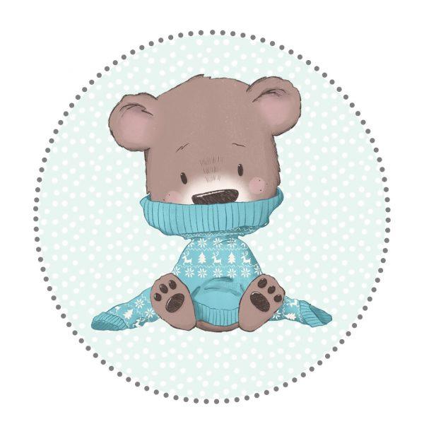 Bügelbild Bär mit Pullover