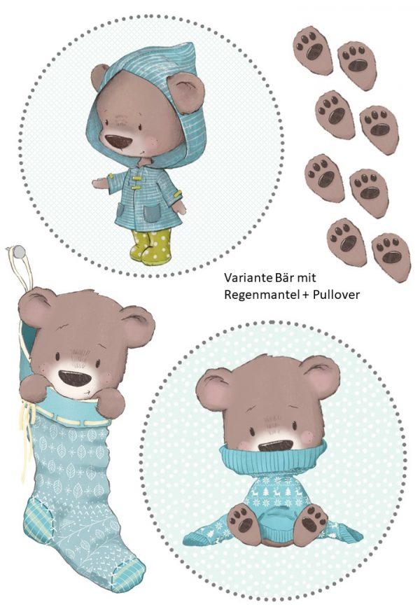Bügelbild Bär mit Regenmantel und Pullover