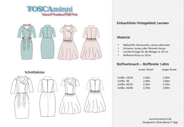 Vintagekleid Laureen Nähanleitung und Schnittmuster