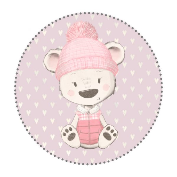 Bügelbild Bär rosa mit Mütze