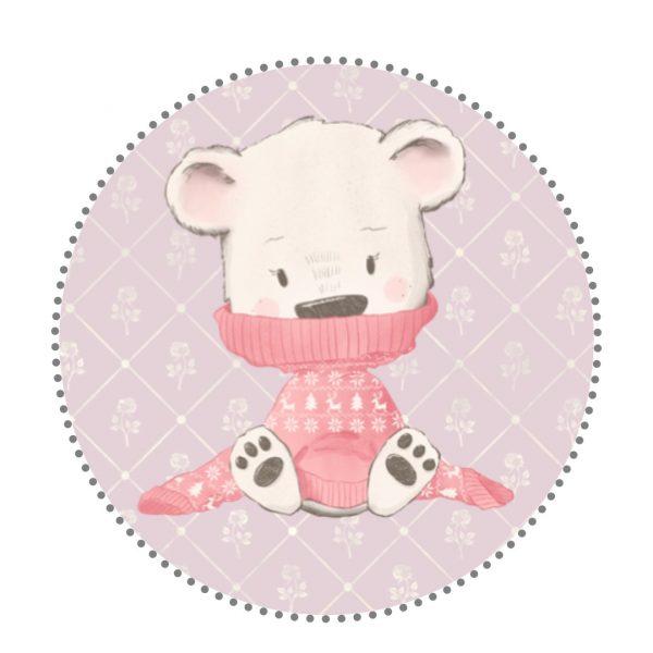 Bügelbild Bär mit Pullover rosa