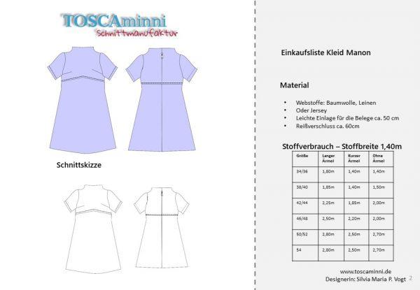 Schnittmuster Kleid Kurzarm